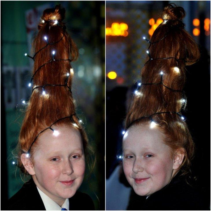 زينت شعرها مثل شجرة عيد الميلاد