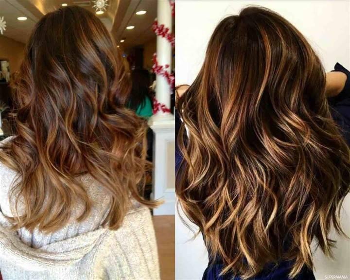 لون شعر  البني الكراميل