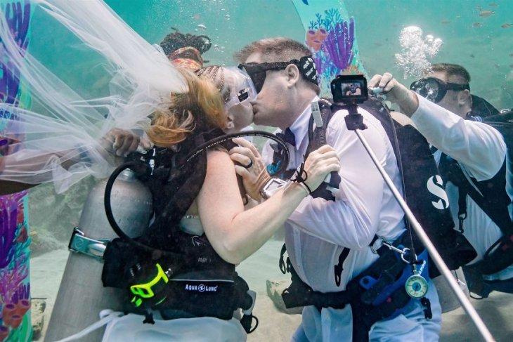 قبلة الزواج تحت الماء